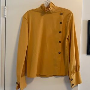 SHEIN mustard yellow long sleeve, high neck blouse